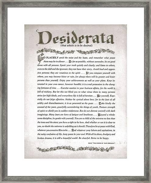 Desiderata 3 Framed Print