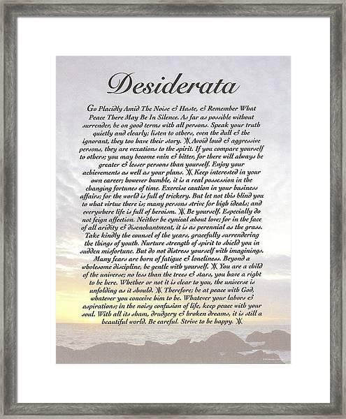 Desiderata 8 Framed Print