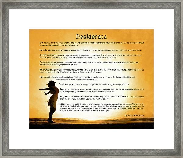 Desiderata - Child Of The Universe Framed Print