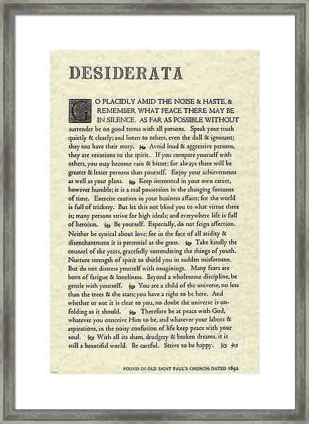 Desiderata Poem On Parchment Framed Print