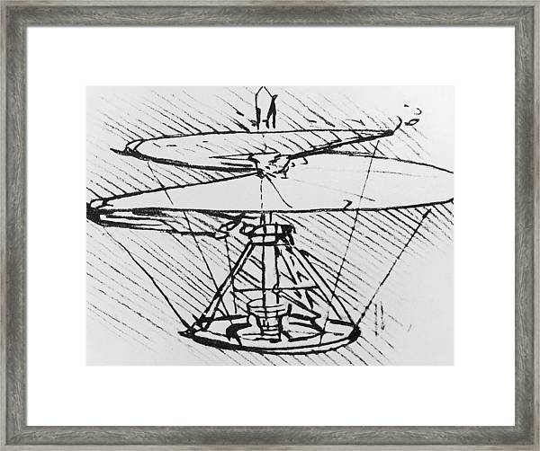 Detail Of A Design For A Flying Machine Framed Print