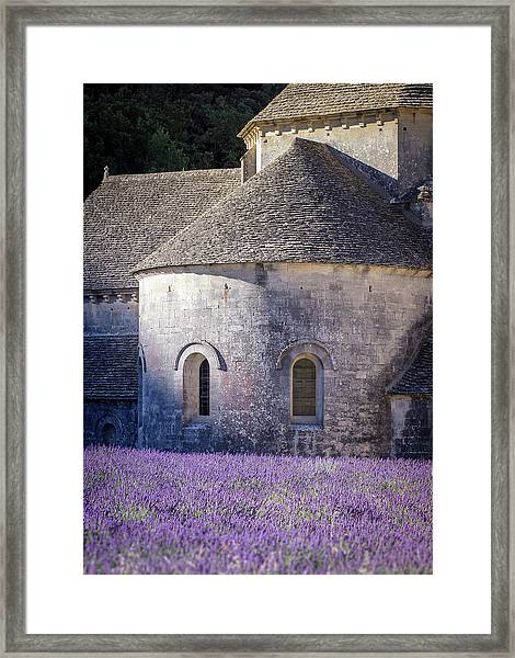 Detail Of Abbaye Senanque, Church In Provence, Southern France, Surrounded By Lavender Framed Print
