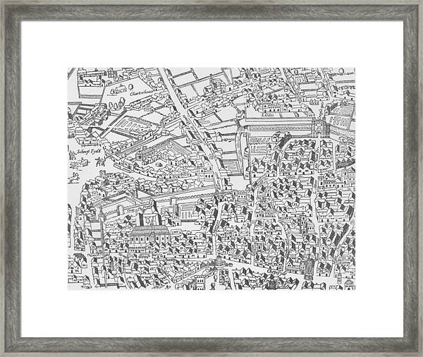 Detail Of London Wall East Of Smithfield From Civitas Londinium Framed Print