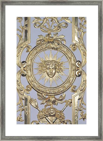 Detail Of Panelling Depicting The Emblem Of Louis Xiv From Versailles Framed Print