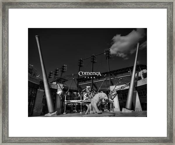 Framed Print featuring the photograph Detroit - Comerica Park 001 Bw by Lance Vaughn