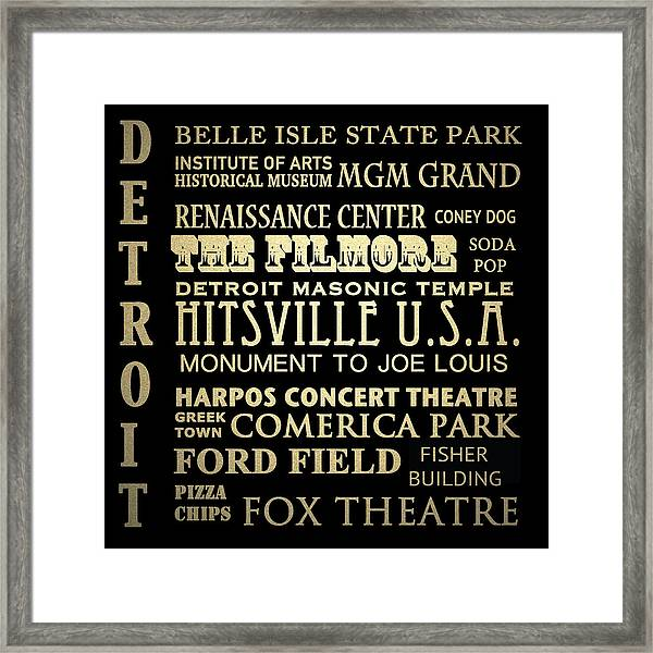 Detroit Michigan Famous Landmarks Framed Print