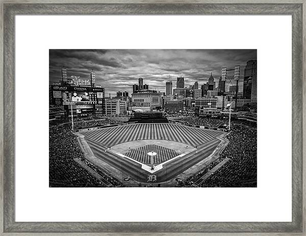 Detroit Tigers Comerica Park Bw 4837 Framed Print