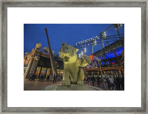 Detroit Tigers Comerica Park Front Gate Tiger Framed Print