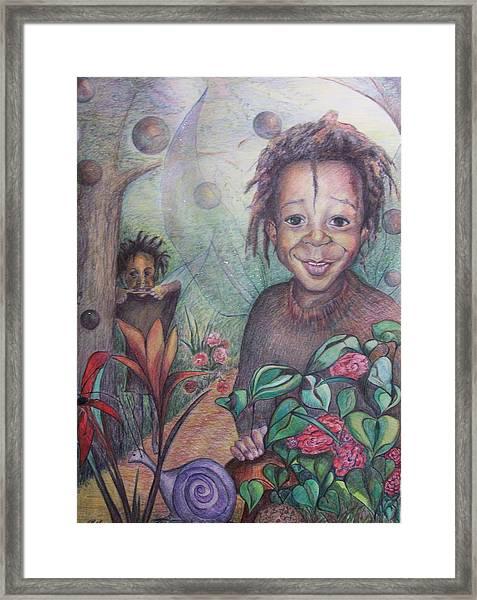 Deven's World Framed Print by Joyce McEwen Crawford