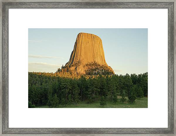 Framed Print featuring the photograph Devils Tower At Sunset by Bill Gabbert