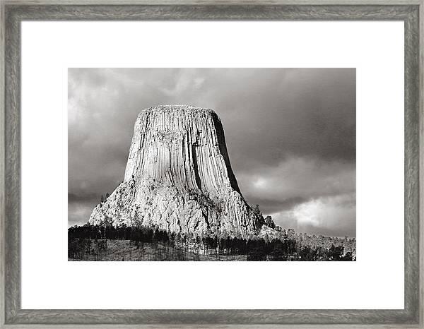 Devil's Tower Black And White Framed Print
