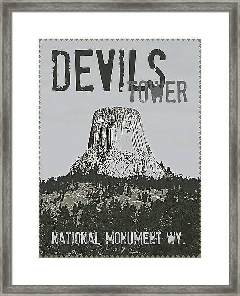Devils Tower Stamp Framed Print