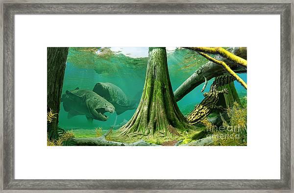 Devonian Mural Framed Print by Julius Csotonyi