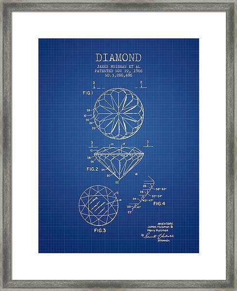 Diamond Patent From 1966- Blueprint Framed Print