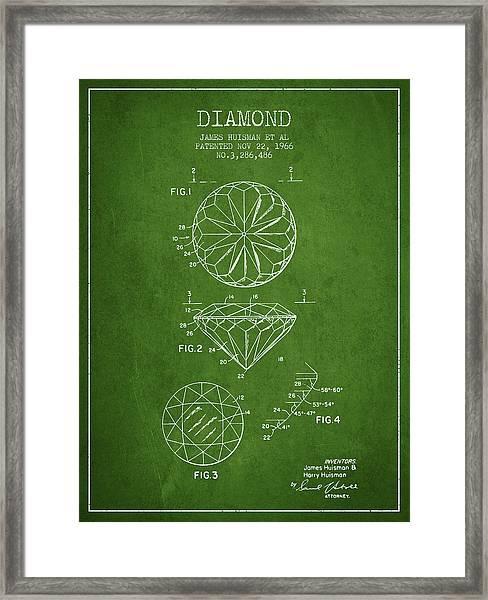 Diamond Patent From 1966- Green Framed Print