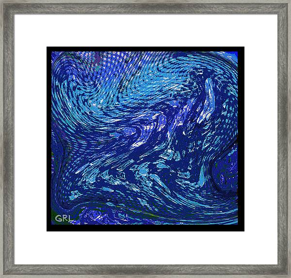 Framed Print featuring the painting Digital Abstract Crystals In Iwarp Cosmos 3 by G Linsenmayer