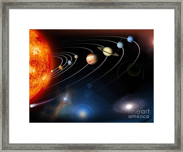 Digitally Generated Image Of Our Solar Framed Print