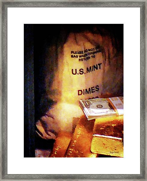 Dimes Dollars And Gold Framed Print