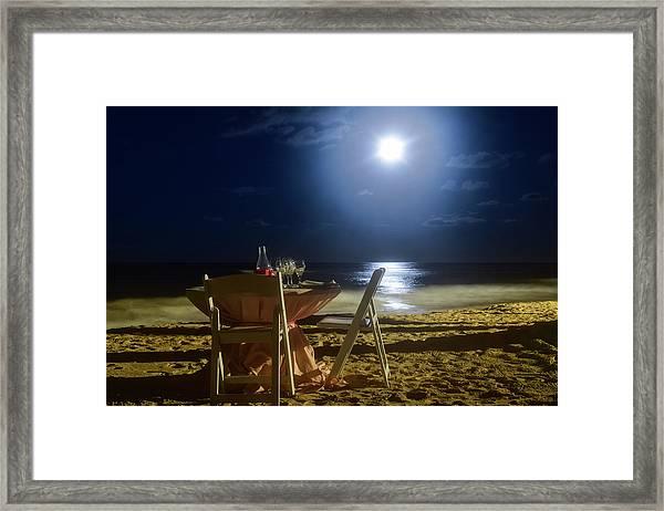 Dinner For Two In The Moonlight Framed Print