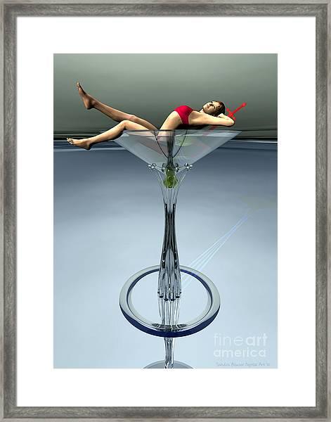 Framed Print featuring the digital art Dirty Martini by Sandra Bauser Digital Art