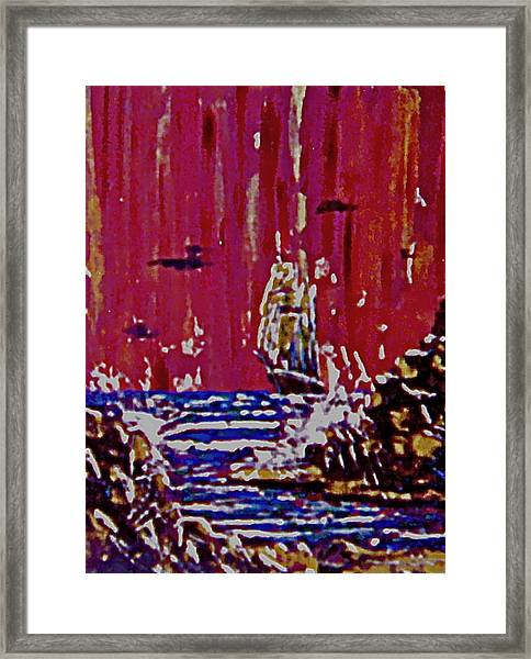 Disaster On The Reef Framed Print