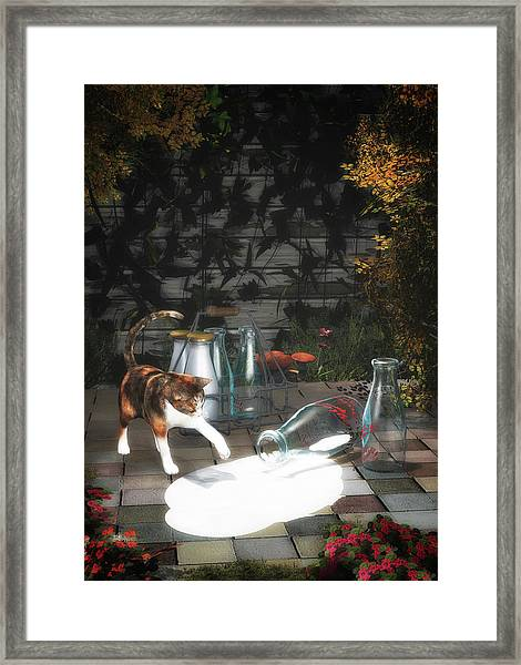 Framed Print featuring the painting Discovering Milk by Jan Keteleer