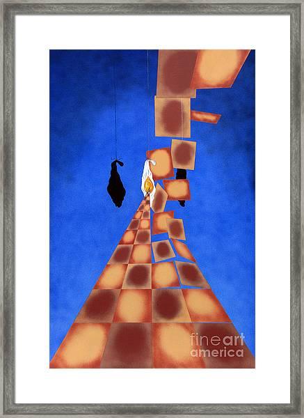 Disrupted Egg Path On Blue Framed Print