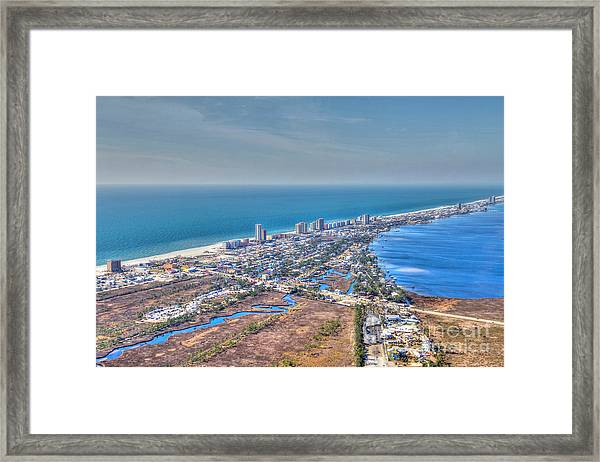 Distant Aerial View Of Gulf Shores Framed Print