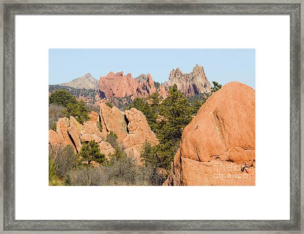 Distant Garden Of The Gods From Red Rock Canyon Framed Print