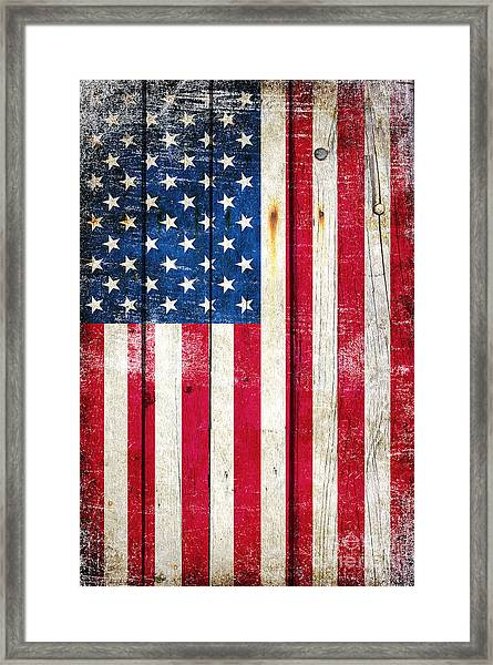 Distressed American Flag On Wood - Vertical Framed Print