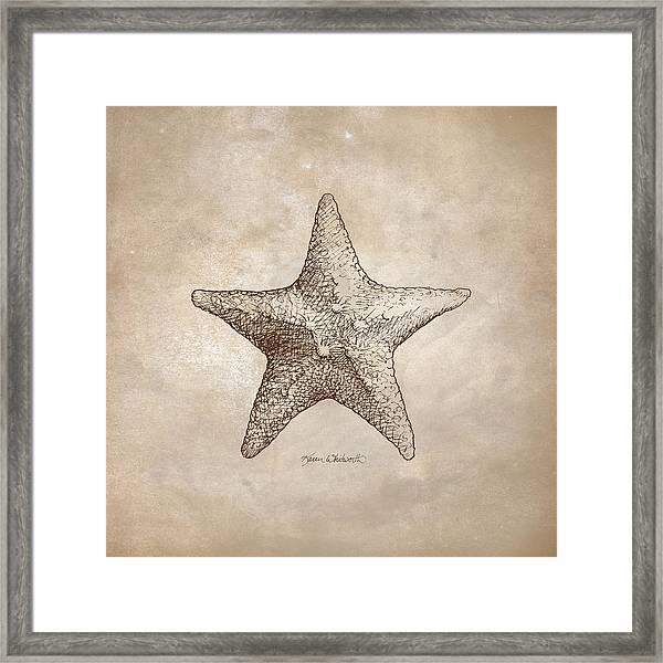 Distressed Antique Nautical Starfish Framed Print