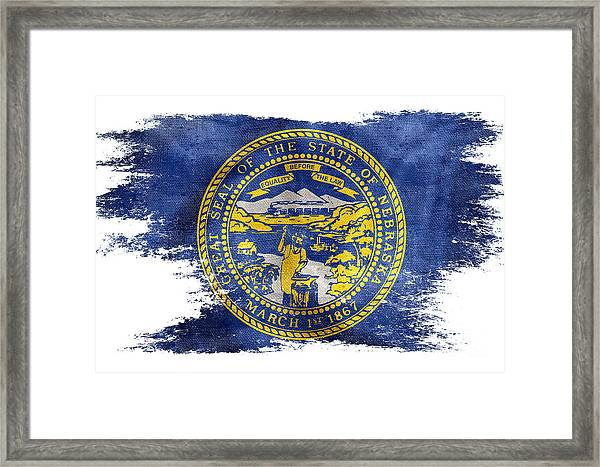 Distressed Nebraska Flag  Framed Print