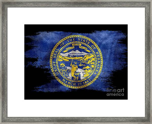 Distressed Nebraska Flag On Black Framed Print