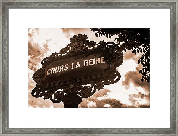 Distressed Parisian Street Sign Framed Print