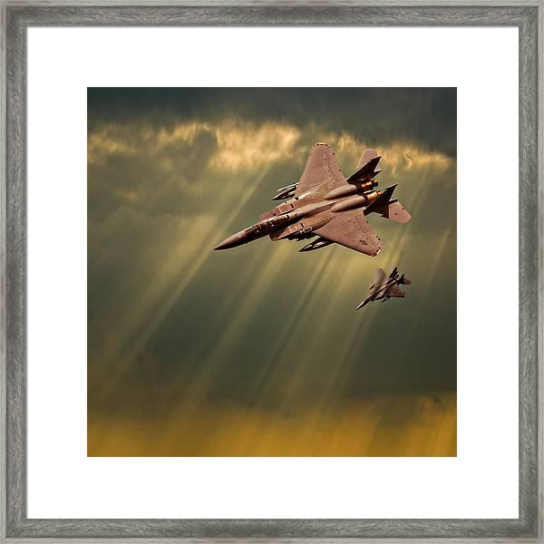 Diving Eagles Framed Print