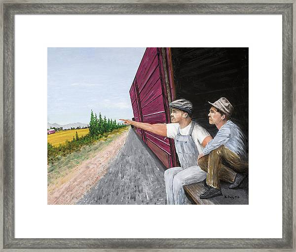 Framed Print featuring the painting Do You Think They Have Rabbits by Kevin Daly