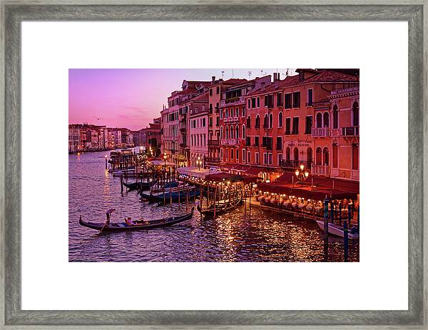 A Cityscape With Vintage Buildings And Gondola - From The Rialto In Venice, Italy Framed Print