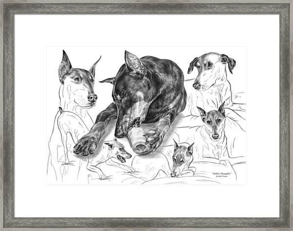Dober-thoughts - Doberman Pinscher Montage Framed Print