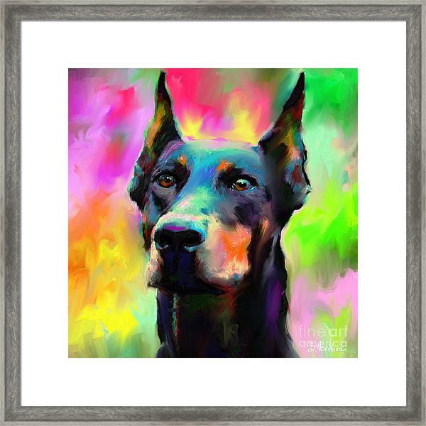 Doberman Pincher Dog Portrait Framed Print