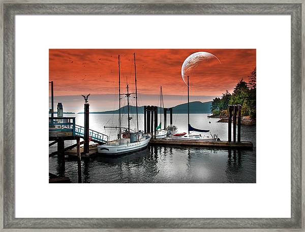 Dock And The Moon Framed Print