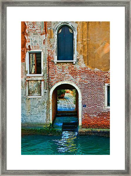 Dock And Windows Framed Print