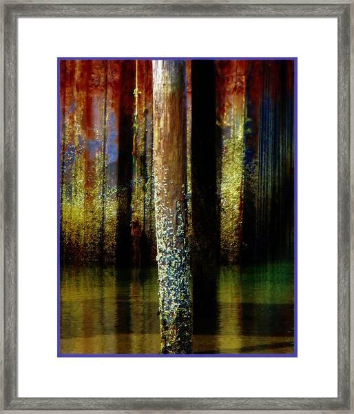 Dock At Low Tide Framed Print