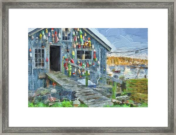 Dock House In Maine II Framed Print by Jon Glaser