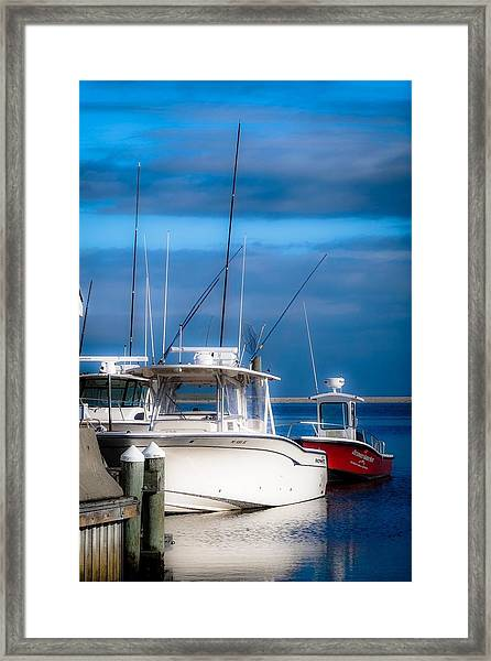 Docked And Quiet Framed Print