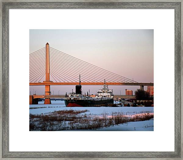 Docked Under The Glass City Skyway  Framed Print