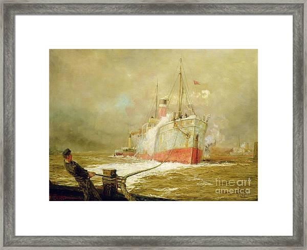 Docking A Cargo Ship Framed Print