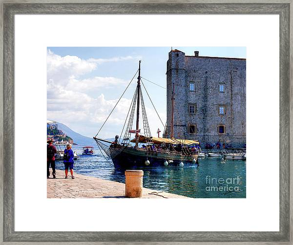 Docking In Dubrovnik Harbour Framed Print