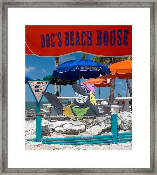 Doc's Beach House On Bonita Beach Framed Print