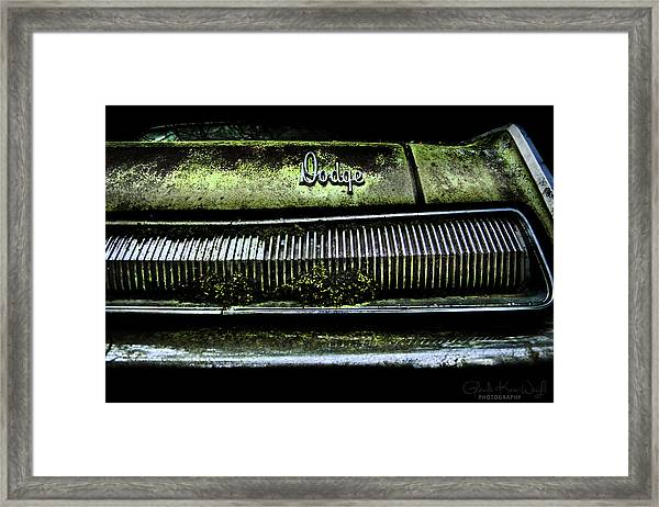 Framed Print featuring the photograph Dodge Green Grin by Glenda Wright