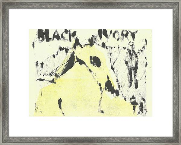 Dog At The Beach - Black Ivory 1 Framed Print